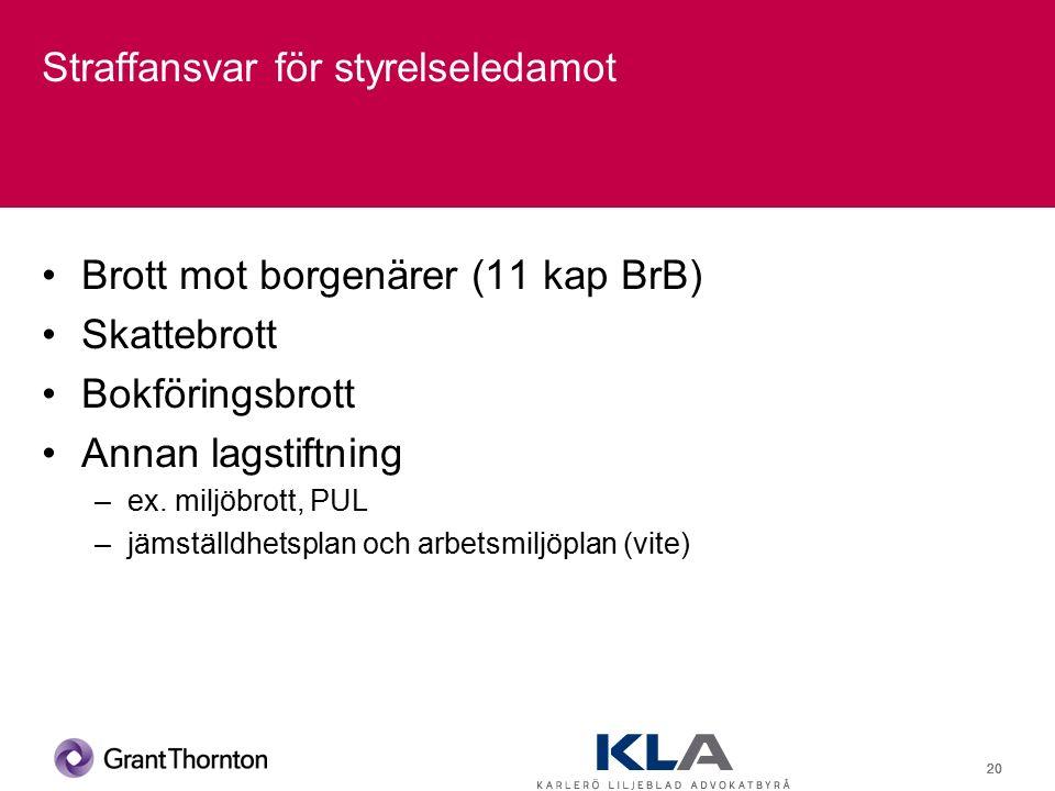 20 Straffansvar för styrelseledamot Brott mot borgenärer (11 kap BrB) Skattebrott Bokföringsbrott Annan lagstiftning –ex.