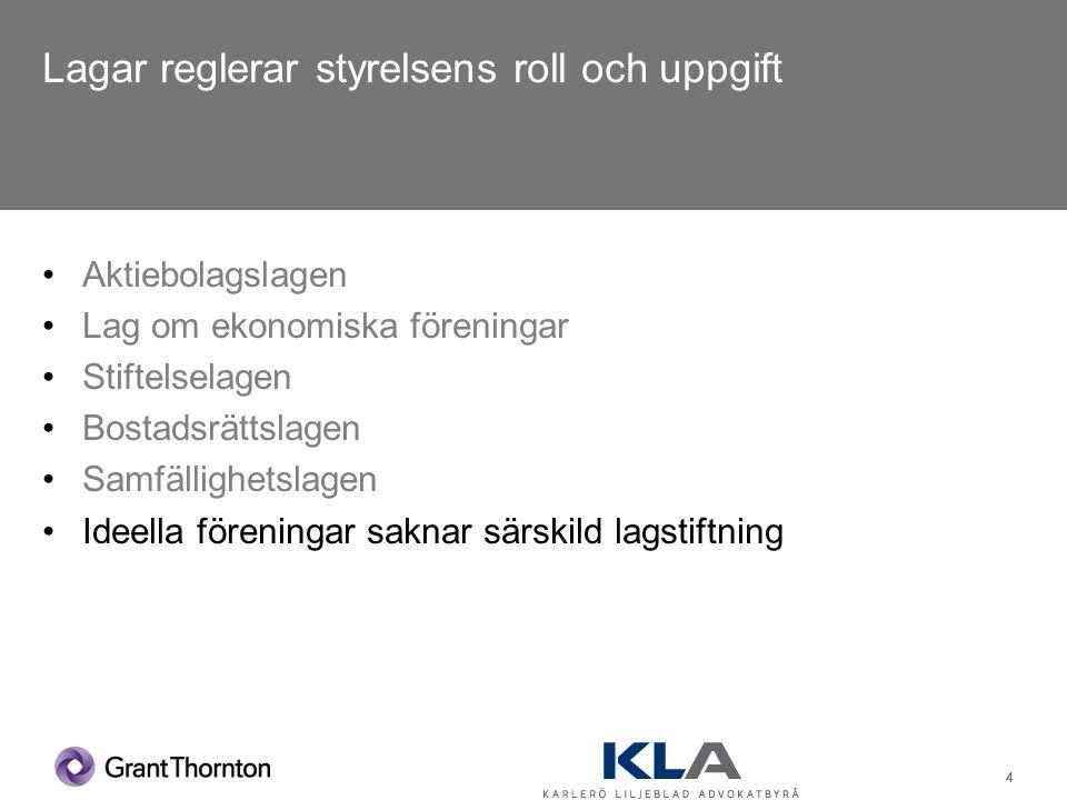 15 Disposition Vilka lagar och regler gäller för styrelsens arbete.