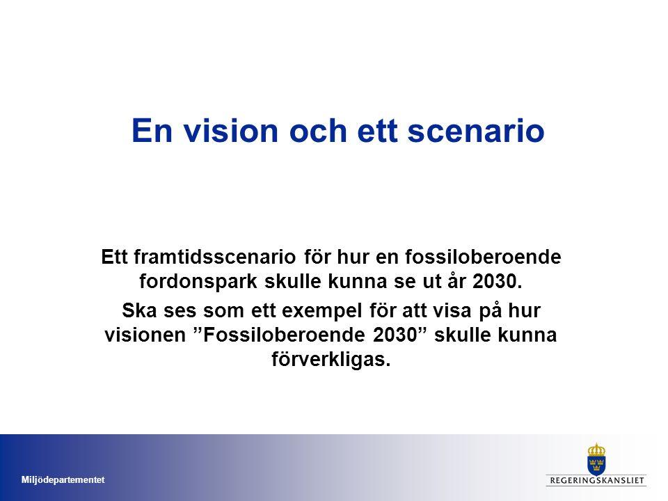 Miljödepartementet En vision och ett scenario Ett framtidsscenario för hur en fossiloberoende fordonspark skulle kunna se ut år 2030.