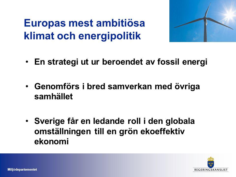 Europas mest ambitiösa klimat och energipolitik En strategi ut ur beroendet av fossil energi Genomförs i bred samverkan med övriga samhället Sverige får en ledande roll i den globala omställningen till en grön ekoeffektiv ekonomi