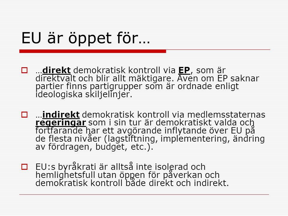 EU är öppet för…  …direkt demokratisk kontroll via EP, som är direktvalt och blir allt mäktigare.