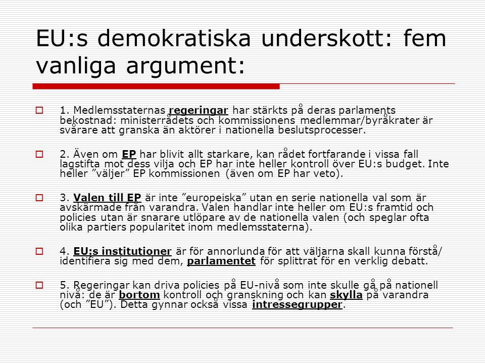 EU:s demokratiska underskott: fem vanliga argument:  1.