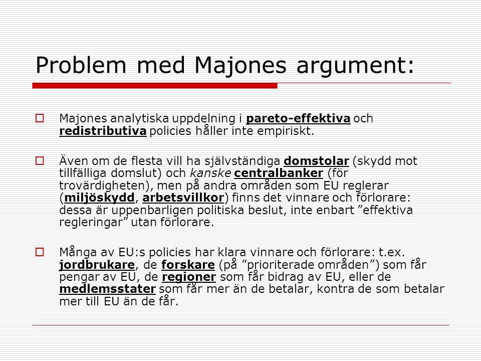 Problem med Majones argument:  Majones analytiska uppdelning i pareto-effektiva och redistributiva policies håller inte empiriskt.