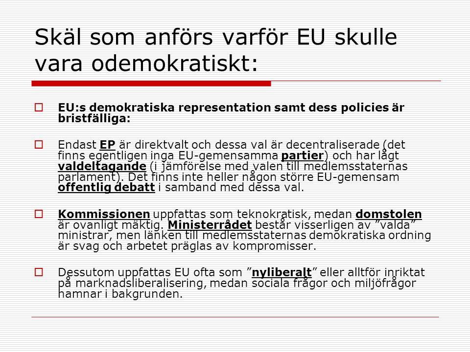 Skäl som anförs varför EU skulle vara odemokratiskt:  EU:s demokratiska representation samt dess policies är bristfälliga:  Endast EP är direktvalt och dessa val är decentraliserade (det finns egentligen inga EU-gemensamma partier) och har lågt valdeltagande (i jämförelse med valen till medlemsstaternas parlament).