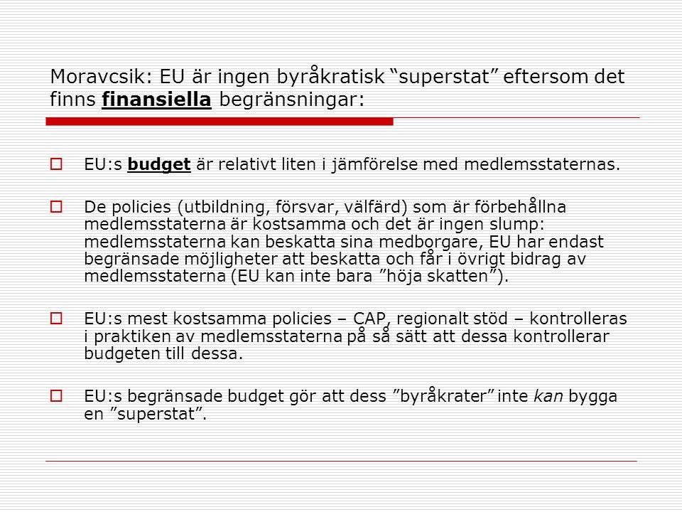 Moravcsik: EU är ingen byråkratisk superstat eftersom det finns finansiella begränsningar:  EU:s budget är relativt liten i jämförelse med medlemsstaternas.