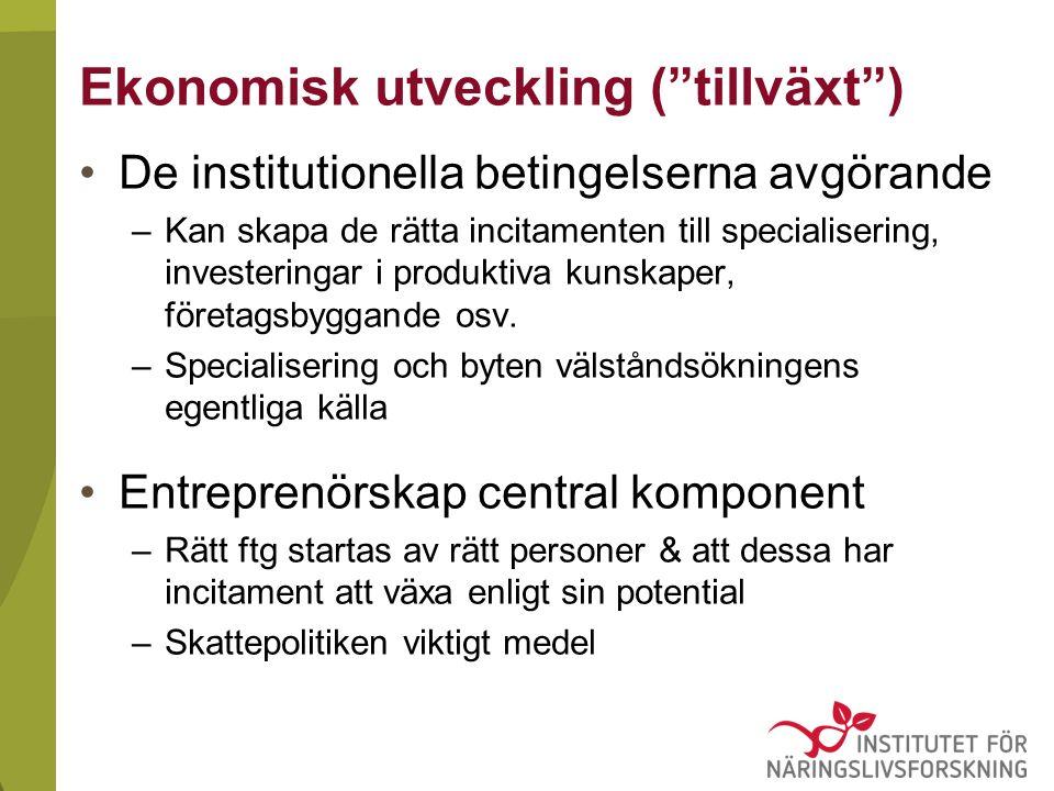 Ekonomisk utveckling ( tillväxt ) De institutionella betingelserna avgörande –Kan skapa de rätta incitamenten till specialisering, investeringar i produktiva kunskaper, företagsbyggande osv.