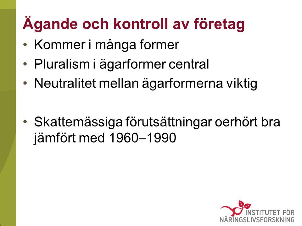 Ägande och kontroll av företag Kommer i många former Pluralism i ägarformer central Neutralitet mellan ägarformerna viktig Skattemässiga förutsättningar oerhört bra jämfört med 1960–1990