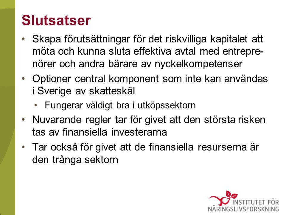 Slutsatser Skapa förutsättningar för det riskvilliga kapitalet att möta och kunna sluta effektiva avtal med entrepre- nörer och andra bärare av nyckelkompetenser Optioner central komponent som inte kan användas i Sverige av skatteskäl Fungerar väldigt bra i utköpssektorn Nuvarande regler tar för givet att den största risken tas av finansiella investerarna Tar också för givet att de finansiella resurserna är den trånga sektorn