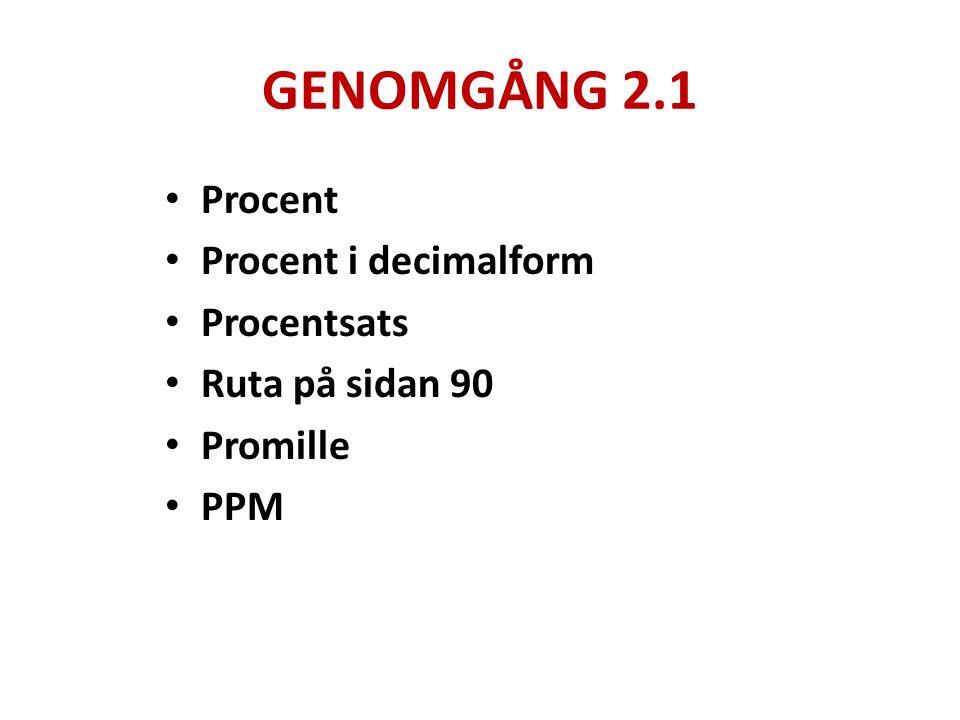 GENOMGÅNG 2.1 Procent Procent i decimalform Procentsats Ruta på sidan 90 Promille PPM