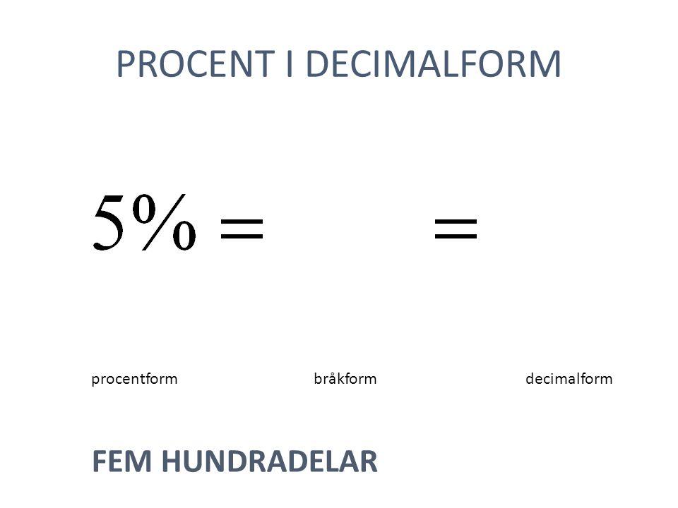PROCENT I DECIMALFORM procentformbråkformdecimalform FEM HUNDRADELAR
