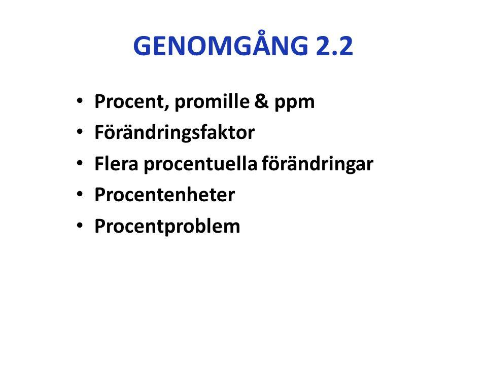 GENOMGÅNG 2.2 Procent, promille & ppm Förändringsfaktor Flera procentuella förändringar Procentenheter Procentproblem