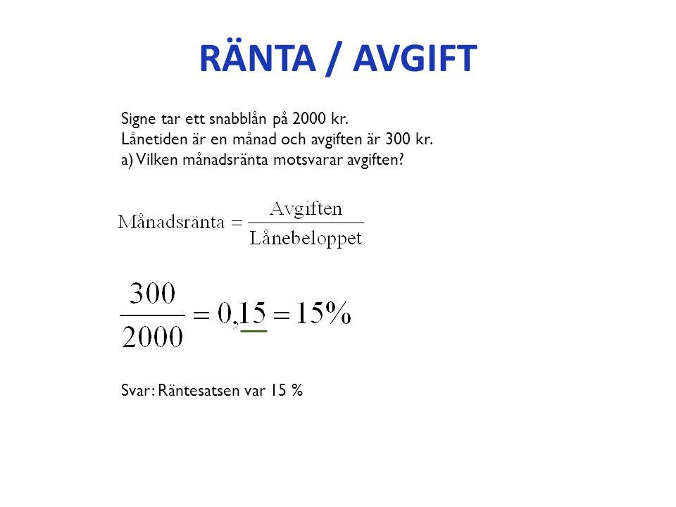RÄNTA / AVGIFT Signe tar ett snabblån på 2000 kr. Lånetiden är en månad och avgiften är 300 kr.