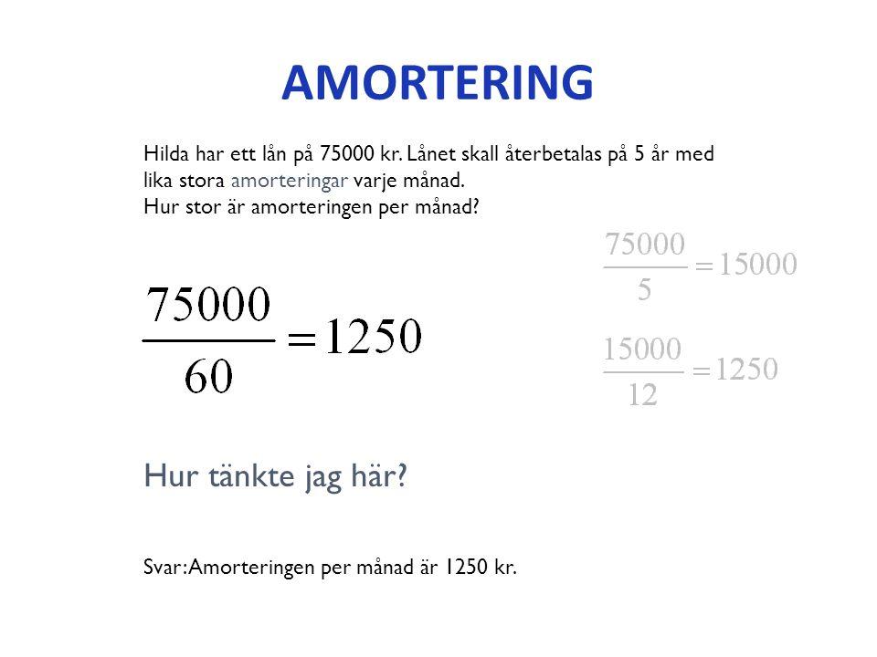 AMORTERING Hilda har ett lån på 75000 kr.
