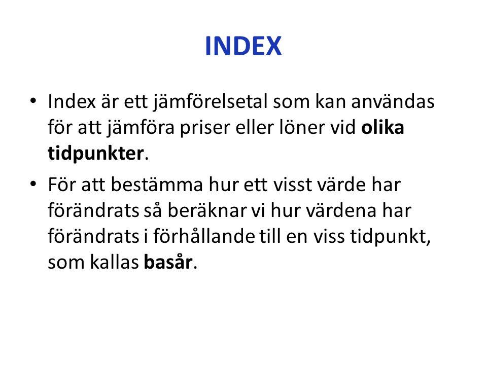INDEX Index är ett jämförelsetal som kan användas för att jämföra priser eller löner vid olika tidpunkter.