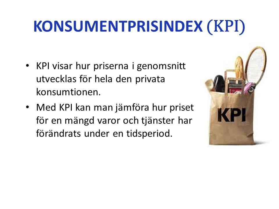 KONSUMENTPRISINDEX (KPI) KPI visar hur priserna i genomsnitt utvecklas för hela den privata konsumtionen.