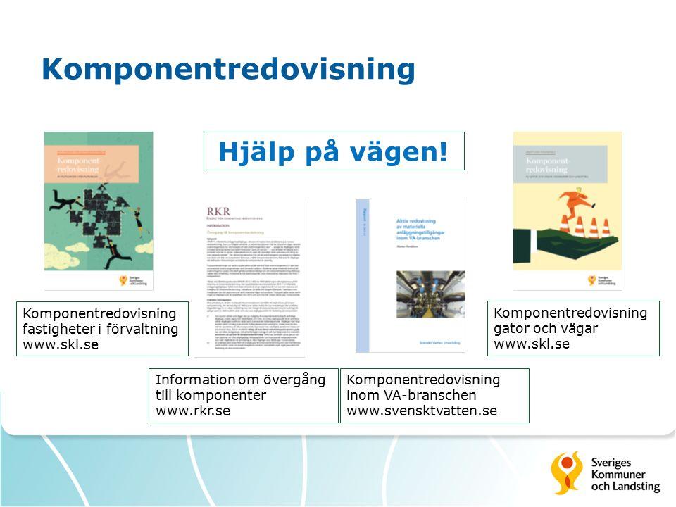Komponentredovisning Information om övergång till komponenter www.rkr.se Komponentredovisning fastigheter i förvaltning www.skl.se Komponentredovisning gator och vägar www.skl.se Hjälp på vägen.