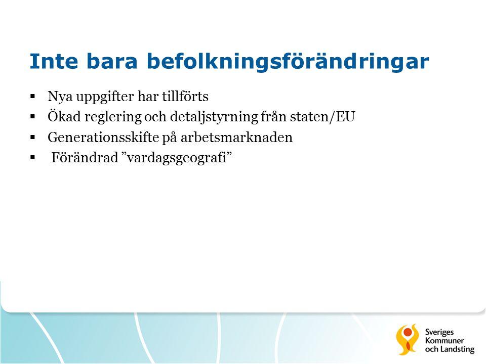 Inte bara befolkningsförändringar  Nya uppgifter har tillförts  Ökad reglering och detaljstyrning från staten/EU  Generationsskifte på arbetsmarknaden  Förändrad vardagsgeografi