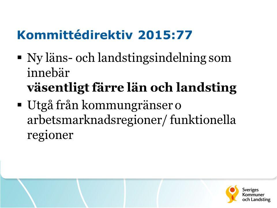 Kommittédirektiv 2015:77  Ny läns- och landstingsindelning som innebär väsentligt färre län och landsting  Utgå från kommungränser o arbetsmarknadsregioner/ funktionella regioner