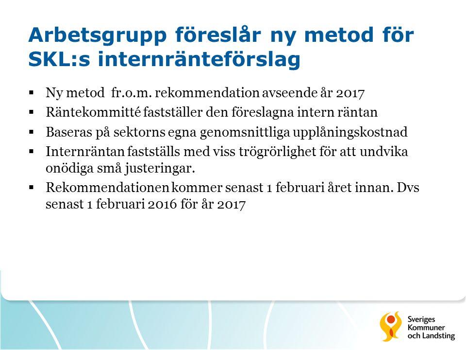 Arbetsgrupp föreslår ny metod för SKL:s internränteförslag  Ny metod fr.o.m.