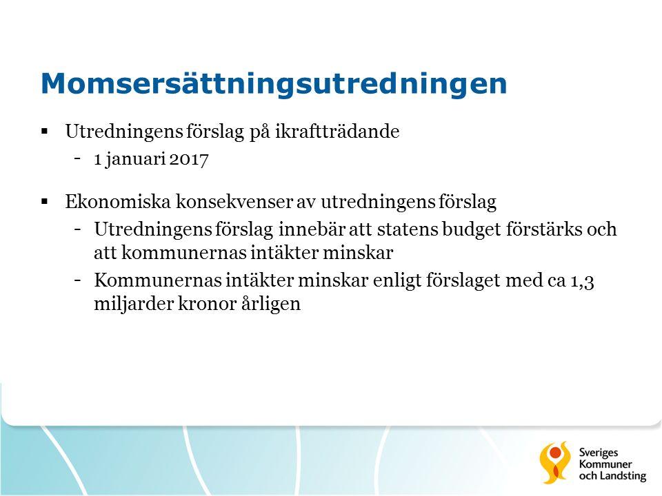 Momsersättningsutredningen  Utredningens förslag på ikraftträdande - 1 januari 2017  Ekonomiska konsekvenser av utredningens förslag - Utredningens förslag innebär att statens budget förstärks och att kommunernas intäkter minskar - Kommunernas intäkter minskar enligt förslaget med ca 1,3 miljarder kronor årligen