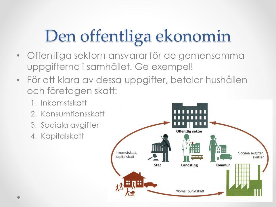 Den offentliga ekonomin Offentliga sektorn ansvarar för de gemensamma uppgifterna i samhället.