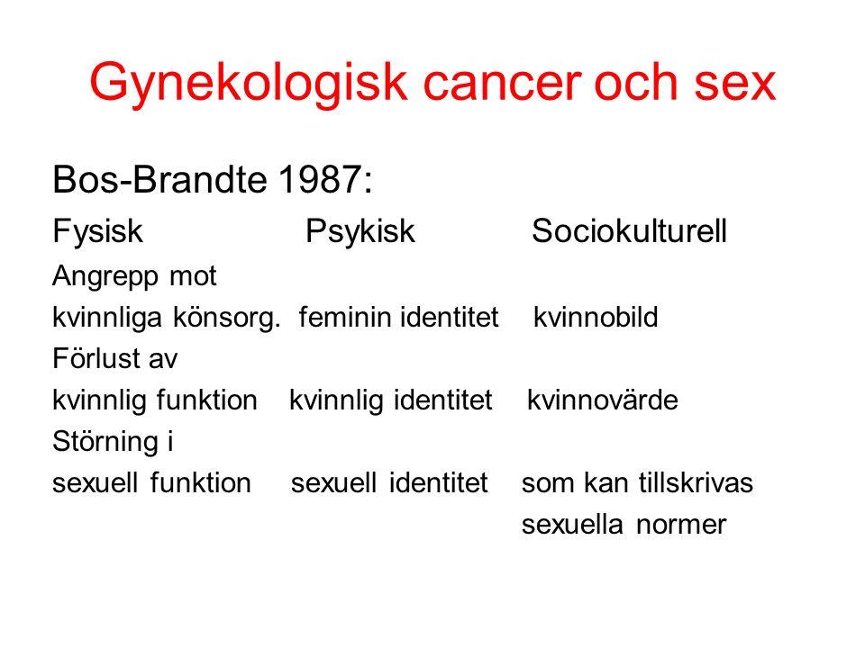 Gynekologisk cancer och sex Bos-Brandte 1987: Fysisk Psykisk Sociokulturell Angrepp mot kvinnliga könsorg.