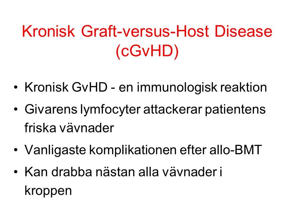 Kronisk Graft-versus-Host Disease (cGvHD) Kronisk GvHD - en immunologisk reaktion Givarens lymfocyter attackerar patientens friska vävnader Vanligaste komplikationen efter allo-BMT Kan drabba nästan alla vävnader i kroppen