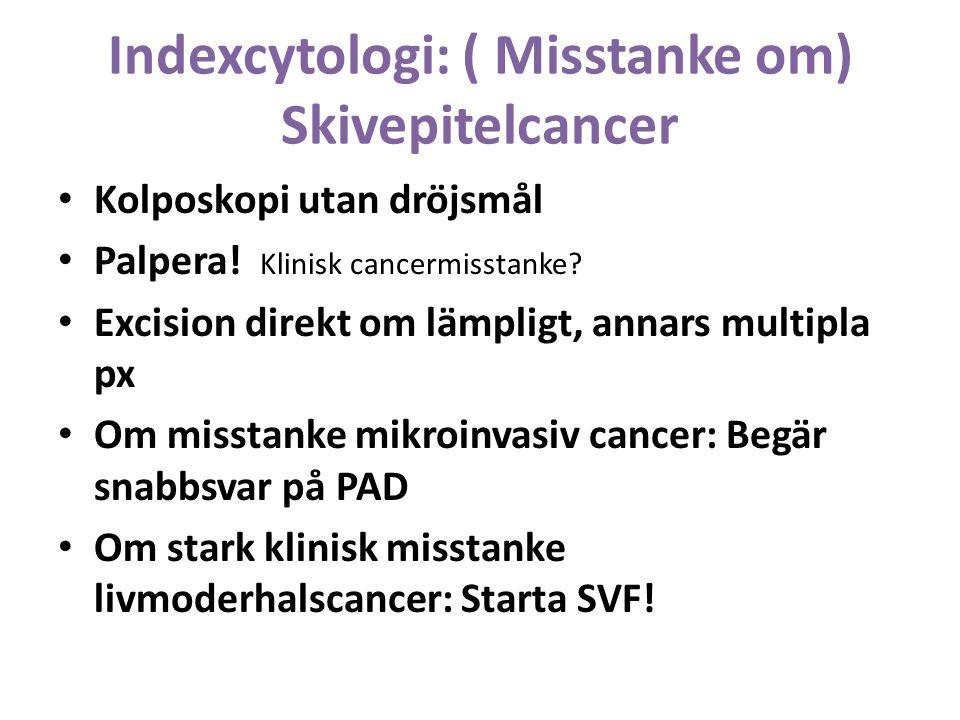 Indexcytologi: ( Misstanke om) Skivepitelcancer Kolposkopi utan dröjsmål Palpera.