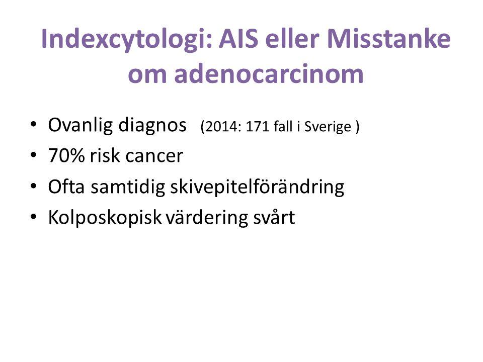 Indexcytologi: AIS eller Misstanke om adenocarcinom Ovanlig diagnos (2014: 171 fall i Sverige ) 70% risk cancer Ofta samtidig skivepitelförändring Kolposkopisk värdering svårt