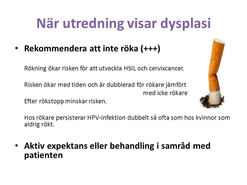 När utredning visar dysplasi Rekommendera att inte röka (+++) Rökning ökar risken för att utveckla HSIL och cervixcancer.