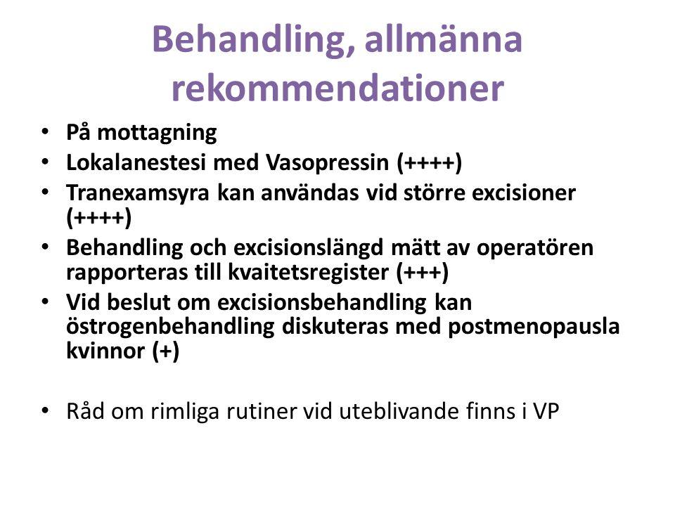 Behandling, allmänna rekommendationer På mottagning Lokalanestesi med Vasopressin (++++) Tranexamsyra kan användas vid större excisioner (++++) Behandling och excisionslängd mätt av operatören rapporteras till kvaitetsregister (+++) Vid beslut om excisionsbehandling kan östrogenbehandling diskuteras med postmenopausla kvinnor (+) Råd om rimliga rutiner vid uteblivande finns i VP