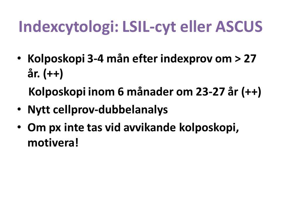Indexcytologi: LSIL-cyt eller ASCUS Kolposkopi 3-4 mån efter indexprov om > 27 år.