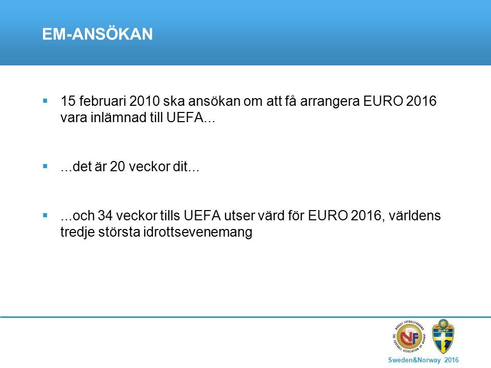 Sweden&Norway 2016 2 EM-ANSÖKAN  15 februari 2010 ska ansökan om att få arrangera EURO 2016 vara inlämnad till UEFA...