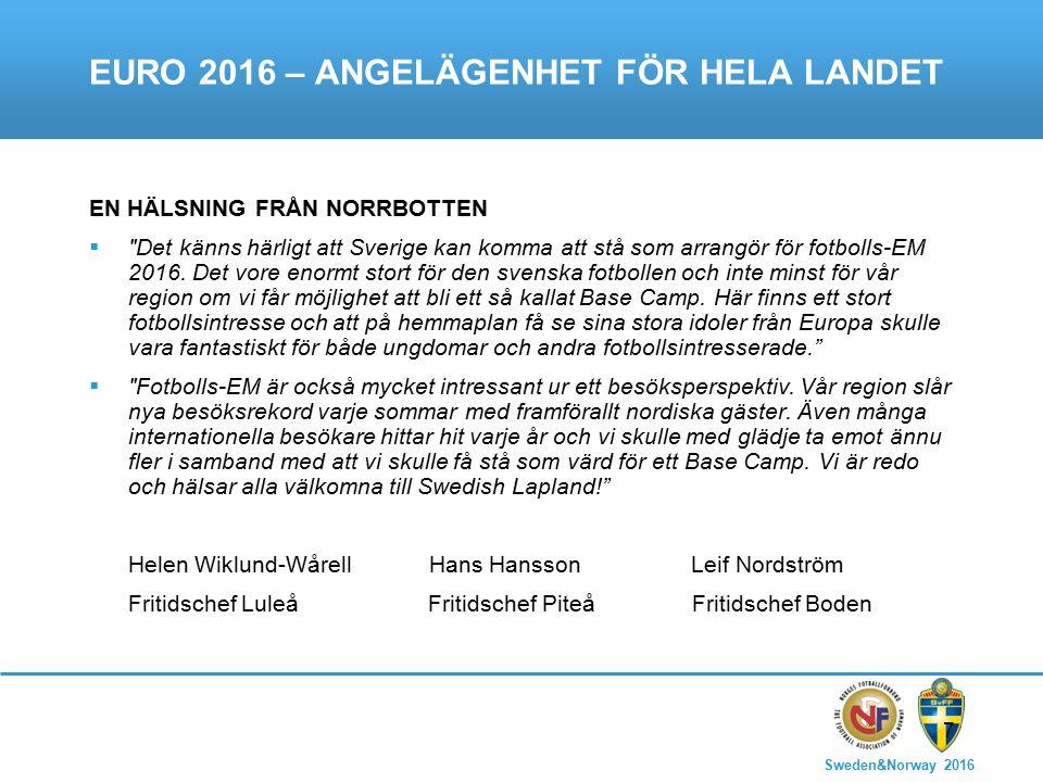 Sweden&Norway 2016 7 EURO 2016 – ANGELÄGENHET FÖR HELA LANDET EN HÄLSNING FRÅN NORRBOTTEN  Det känns härligt att Sverige kan komma att stå som arrangör för fotbolls-EM 2016.