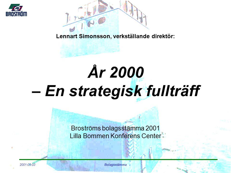 2001-05-03Bolagsstämma Framtidsutsikter - Broström Aktiv aktör i strukturomvandlingen Fokus på kvalitet och säkerhet Fortsatt arbete för ökad kostnadseffektivitet Utvecklat partnerskap med industriella kunder Ökad kontraktstäckning