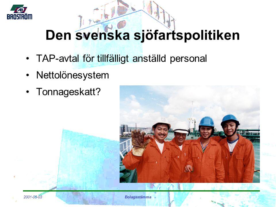 2001-05-03Bolagsstämma Den svenska sjöfartspolitiken TAP-avtal för tillfälligt anställd personal Nettolönesystem Tonnageskatt