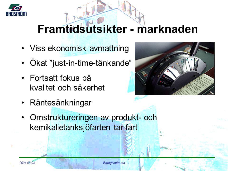 2001-05-03Bolagsstämma Framtidsutsikter - marknaden Viss ekonomisk avmattning Ökat just-in-time-tänkande Fortsatt fokus på kvalitet och säkerhet Räntesänkningar Omstruktureringen av produkt- och kemikalietanksjöfarten tar fart