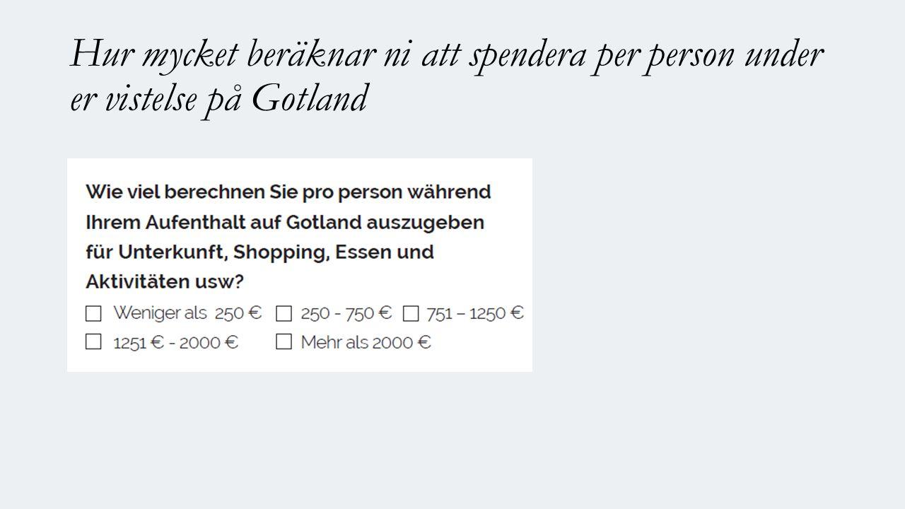 Hur mycket beräknar ni att spendera per person under er vistelse på Gotland