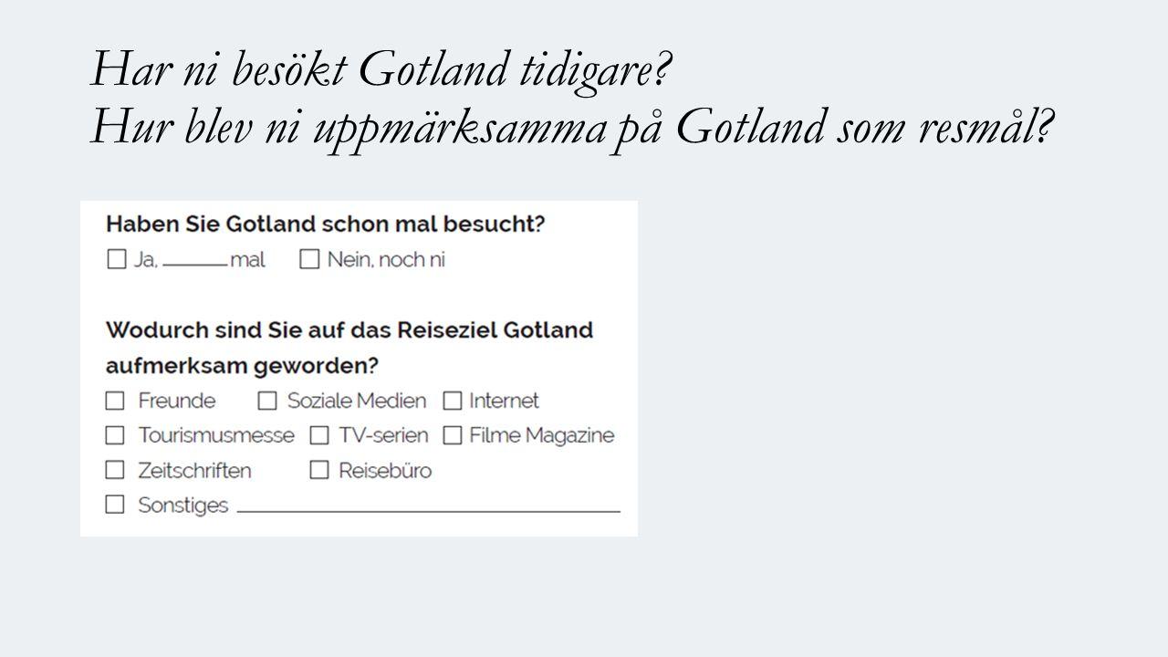 Har ni besökt Gotland tidigare Hur blev ni uppmärksamma på Gotland som resmål