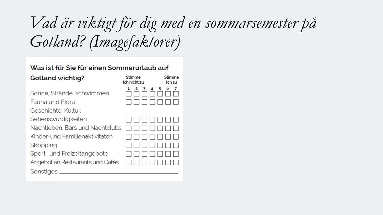 Vad är viktigt för dig med en sommarsemester på Gotland (Imagefaktorer)