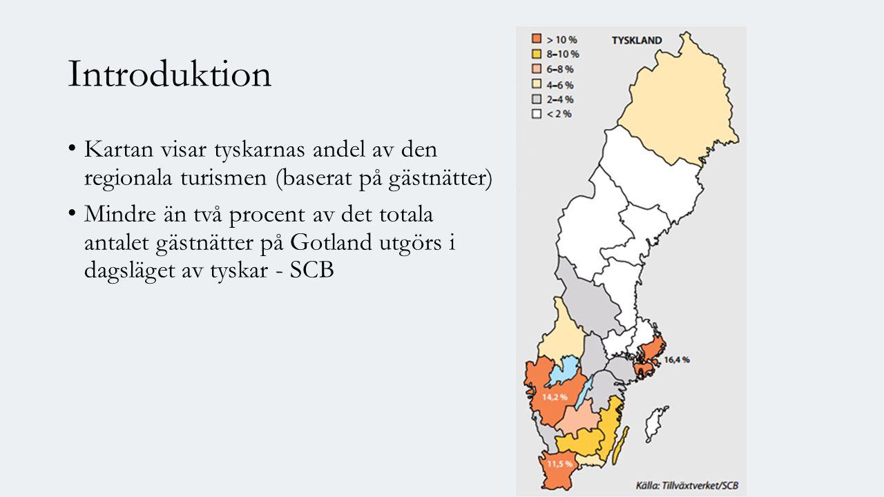 Introduktion Kartan visar tyskarnas andel av den regionala turismen (baserat på gästnätter) Mindre än två procent av det totala antalet gästnätter på Gotland utgörs i dagsläget av tyskar - SCB
