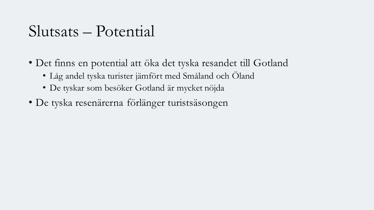 Slutsats – Potential Det finns en potential att öka det tyska resandet till Gotland Låg andel tyska turister jämfört med Småland och Öland De tyskar som besöker Gotland är mycket nöjda De tyska resenärerna förlänger turistsäsongen