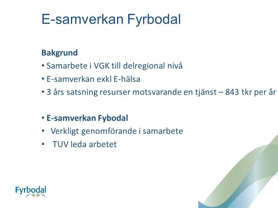 E-samverkan Fyrbodal Bakgrund Samarbete i VGK till delregional nivå E-samverkan exkl E-hälsa 3 års satsning resurser motsvarande en tjänst – 843 tkr per år E-samverkan Fybodal Verkligt genomförande i samarbete TUV leda arbetet