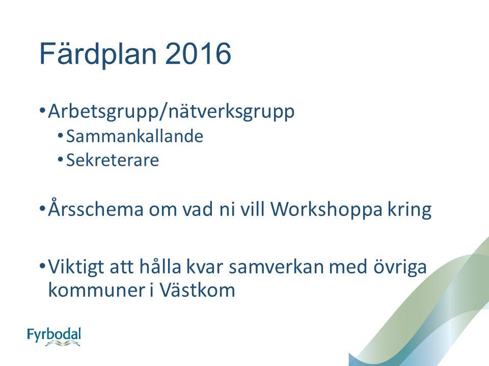 Färdplan 2016 Arbetsgrupp/nätverksgrupp Sammankallande Sekreterare Årsschema om vad ni vill Workshoppa kring Viktigt att hålla kvar samverkan med övriga kommuner i Västkom