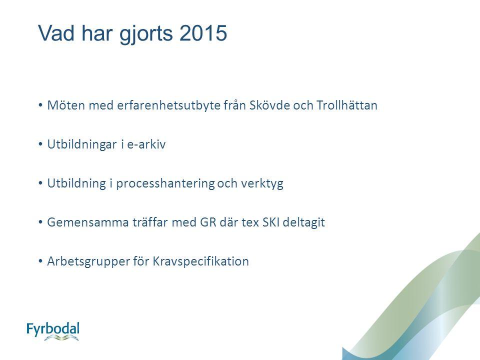 Vad har gjorts 2015 Möten med erfarenhetsutbyte från Skövde och Trollhättan Utbildningar i e-arkiv Utbildning i processhantering och verktyg Gemensamma träffar med GR där tex SKI deltagit Arbetsgrupper för Kravspecifikation