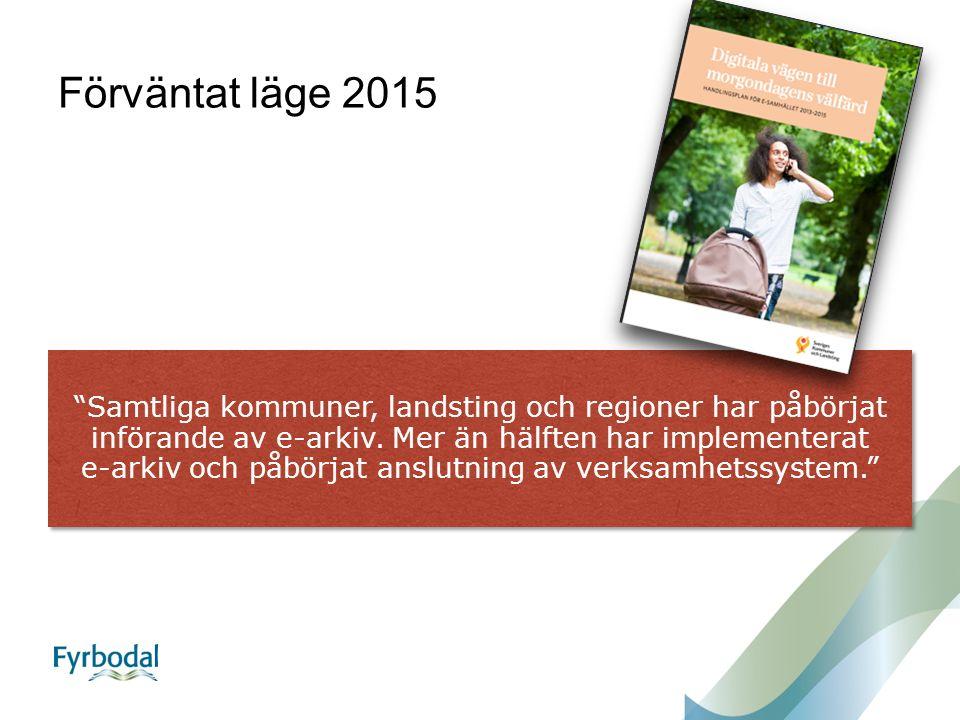 Förväntat läge 2015 Samtliga kommuner, landsting och regioner har påbörjat införande av e-arkiv.