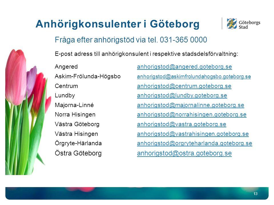 Anhörigkonsulenter i Göteborg 13 Fråga efter anhörigstöd via tel.