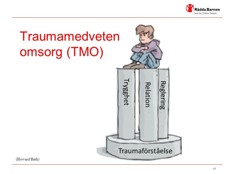 17 Traumamedveten omsorg (TMO) Traumaförståelse Trygghet Relation Reglering (Howard Bath)
