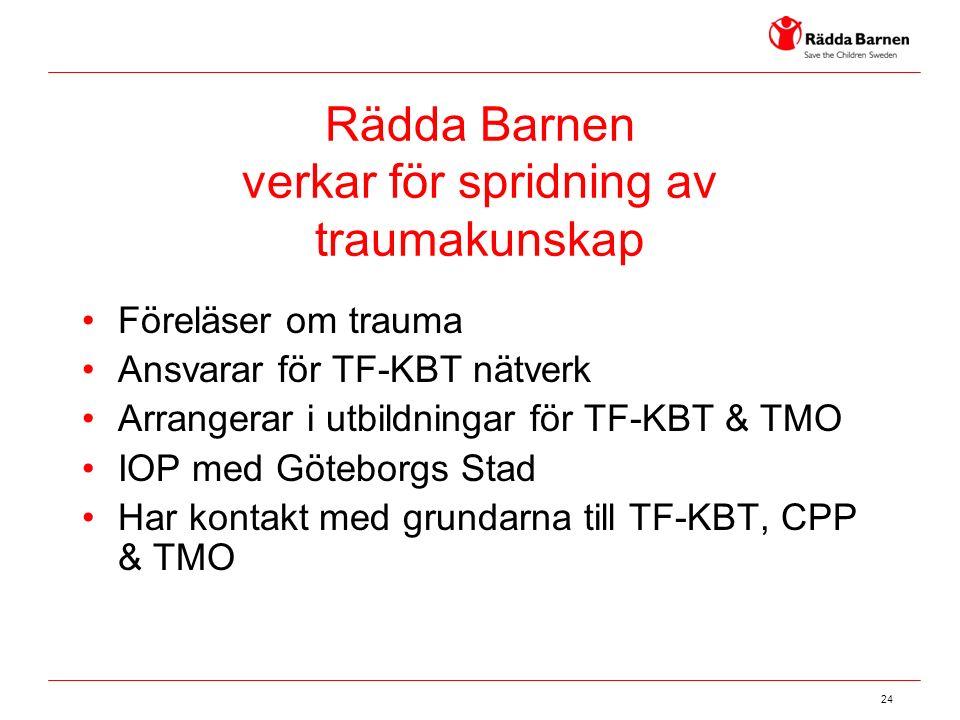 24 Rädda Barnen verkar för spridning av traumakunskap Föreläser om trauma Ansvarar för TF-KBT nätverk Arrangerar i utbildningar för TF-KBT & TMO IOP med Göteborgs Stad Har kontakt med grundarna till TF-KBT, CPP & TMO