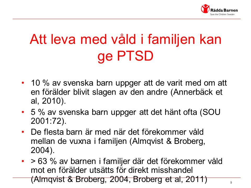9 Att leva med våld i familjen kan ge PTSD 10 % av svenska barn uppger att de varit med om att en förälder blivit slagen av den andre (Annerbäck et al, 2010).